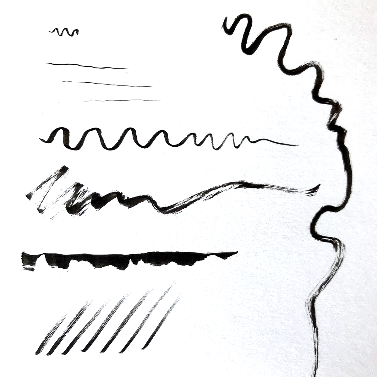 Example lines with the Pentel Pocket brush